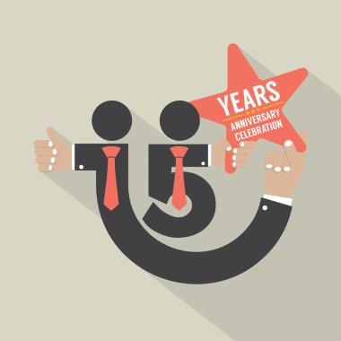 15 Years Anniversary Typography Design Vector Illustration.