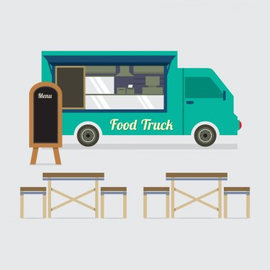 Food Truck With Table Set Vector Illustration.