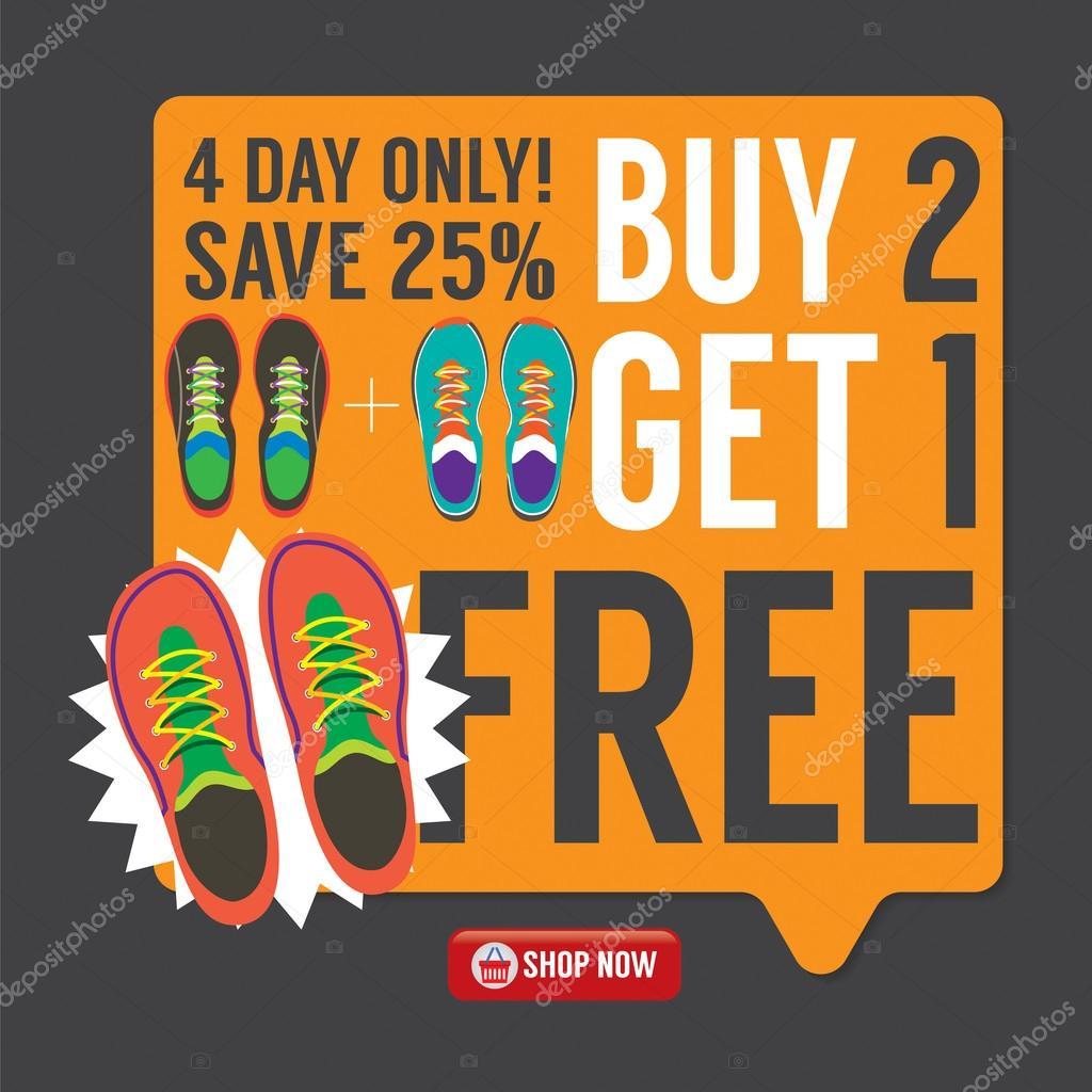 Comprar 2 Get 1 tênis grátis grátis tênis promoção campanha ilustração vetorial 20fec9