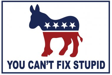 You cant fix stupid, slogan, elections concept