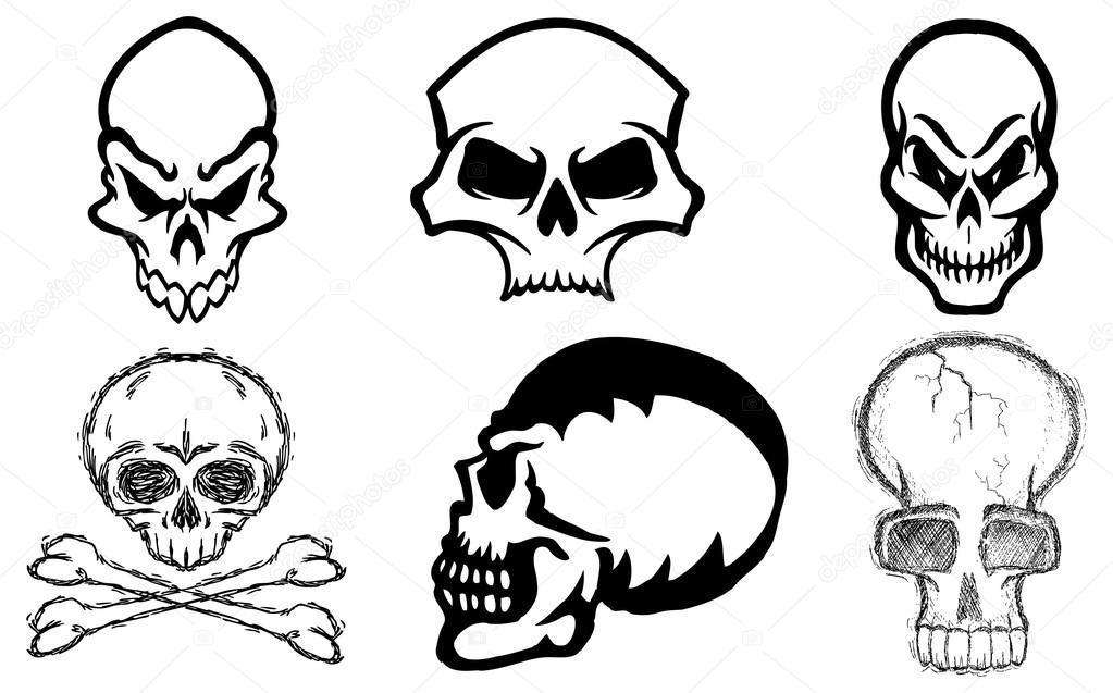Schädel, schwarz-weiß — Stockvektor © scotferdon #59015881