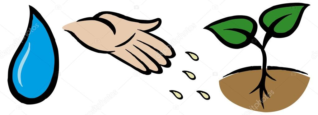 Drop, hand throwing seeds, plant