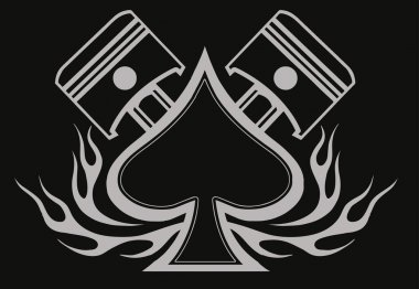 Ace of spades with pistons