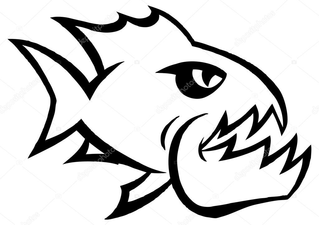 Vector: piraña | Emblema gráfico de peces Piraña — Vector de stock ...