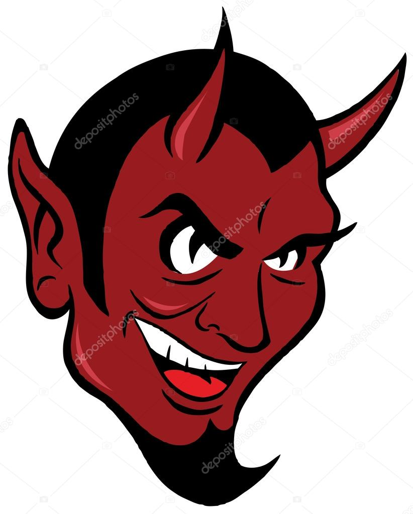 Smiling devil face. — Stock Vector © scotferdon #62140073