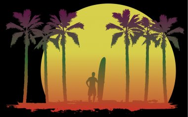 Surfer in a tropical landscape