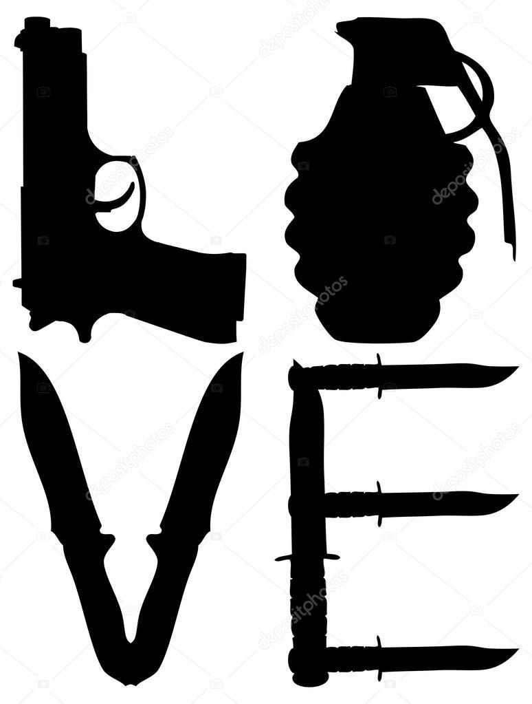 poster avec pistolet et grenade avec le mot amour image rh fr depositphotos com  grenade vector images