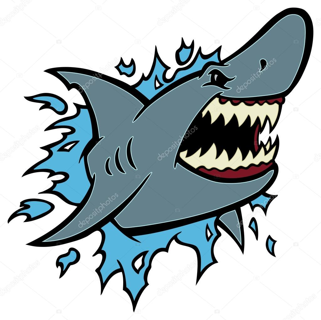 great white shark ripping with opened mouth u2014 stock vector