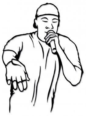 Black and white sketch of rap singer