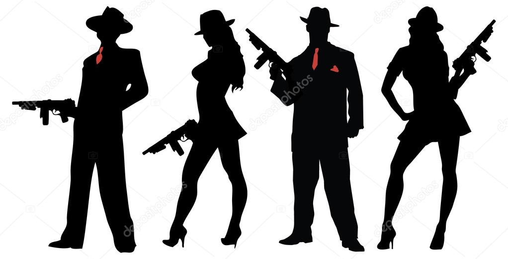 Gangsters people with guns — Stock Vector © scotferdon #88295730