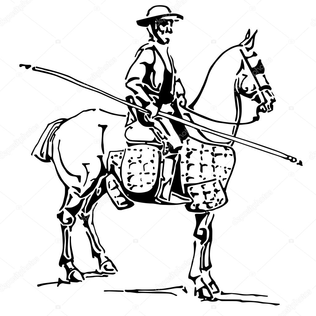 Pikador. Un jinete con una lanza — Archivo Imágenes Vectoriales ...