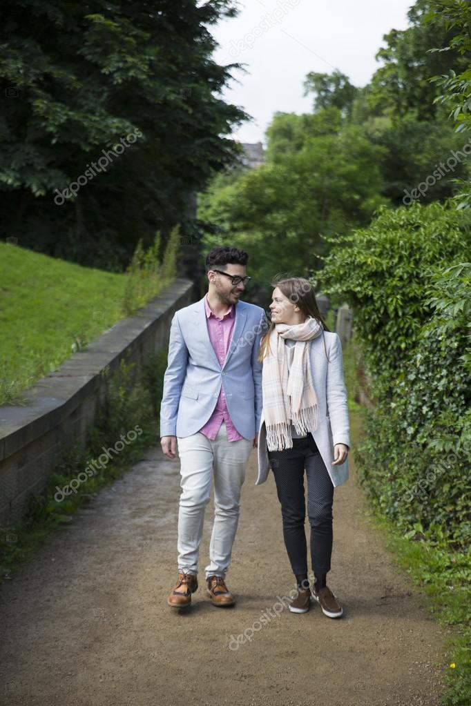 couple walking together in urban area