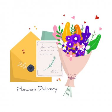Concept for fast flower delivery with craft paper envelope to the recipient. Online delivery service for landing page. Vector illustration for web with bouquet, parcel, pack icon