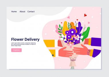 Courier holding in hand parcel ready for fast flower delivery to the recipient. Online delivery service concept landing page. Vector illustration for web with bouquet, parcel, pack icon