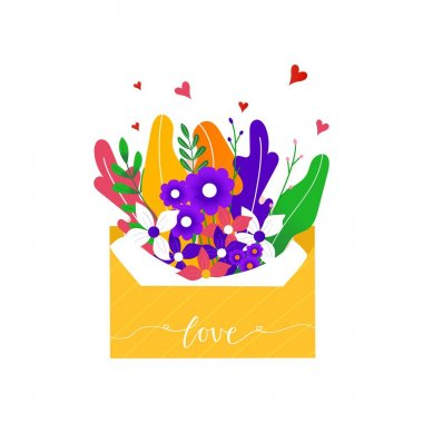 Hand drawn Letter with flowers for delivery icons. Valentine's postal packs, letters, envelopes. parcel for online delivery service concept. Isolated vector icon