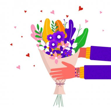 Courier holding in hand parcel ready for fast flower delivery to the recipient. Online delivery service concept . Vector illustration for web with bouquet, parcel, pack icon