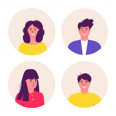 Bundle of different Men and women avatars characters. Cheerful, happy people flat vector illustration set. Round frame. Male and female portraits, group, team. Adorable guys and girls pack. icon