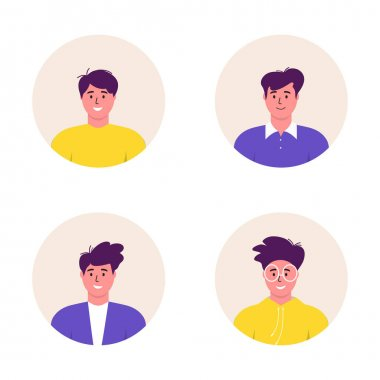 Bundle of different Men avatars characters. Cheerful, happy people flat vector illustration set. Round frame. Male portraits, group, team. Adorable guys pack. icon