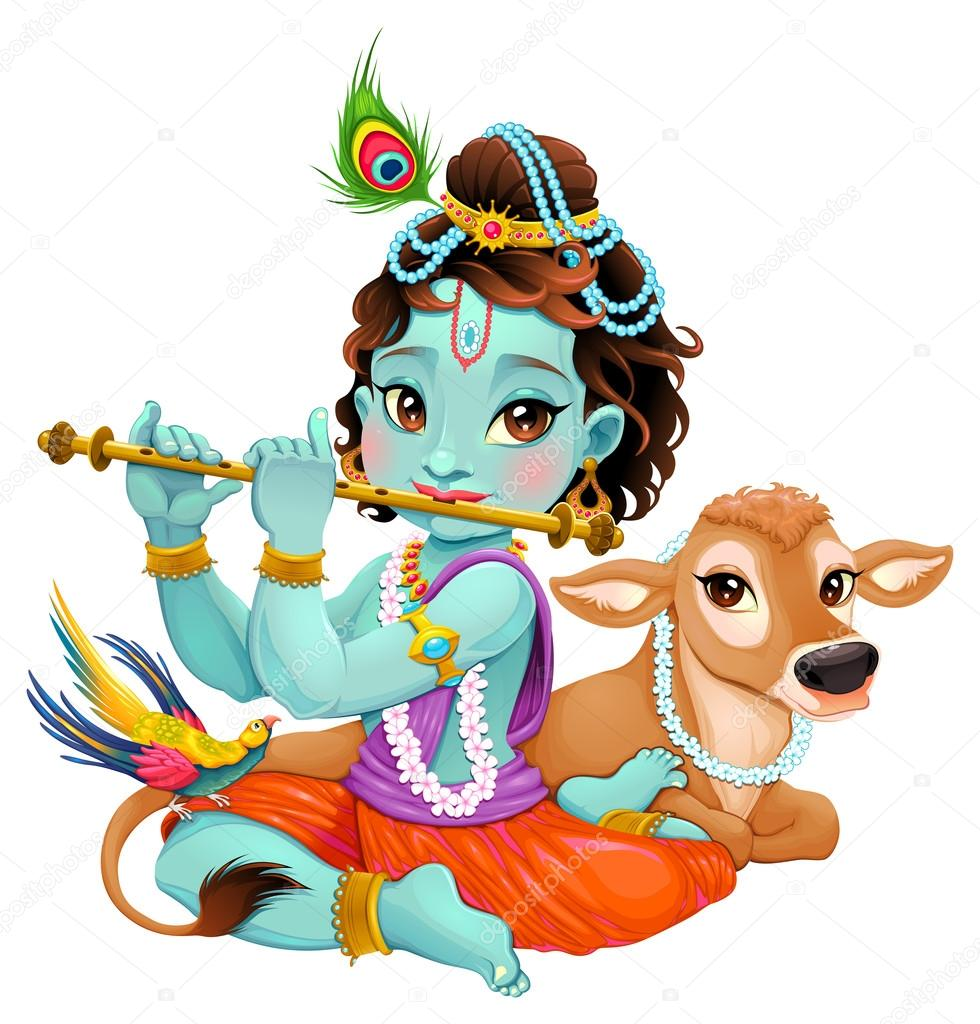 depositphotos 108043356 stock illustration baby krishna with sacred cow