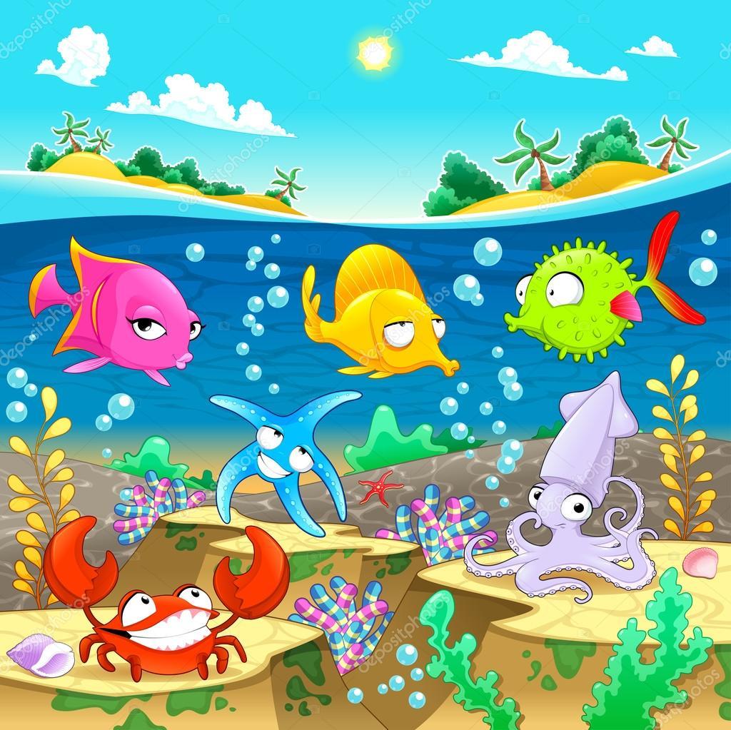 Happy marine family under the sea.