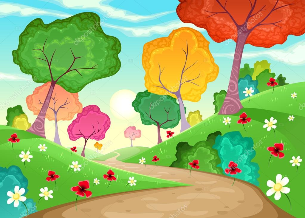 Landscape with multi-colored trees.
