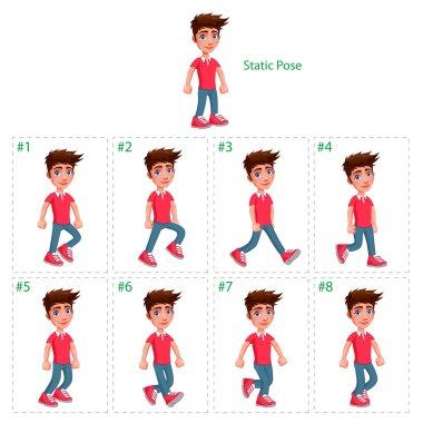 Animation of boy walking.