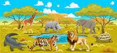 Africká krajina se zvířaty