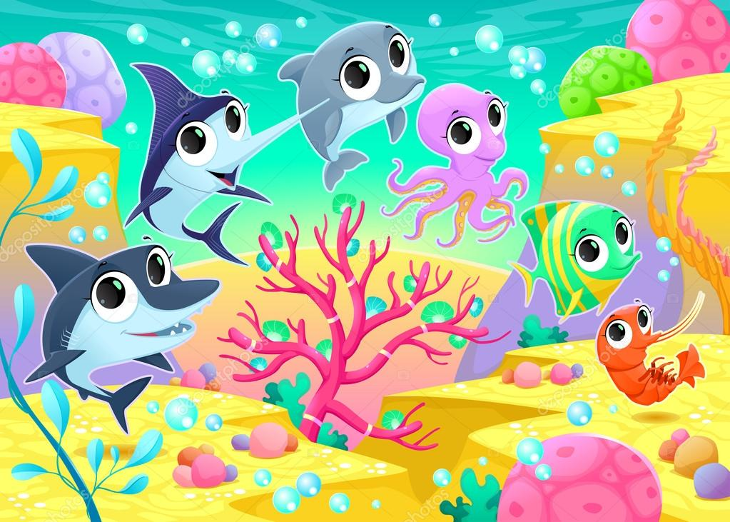 Funny marine animals under the sea
