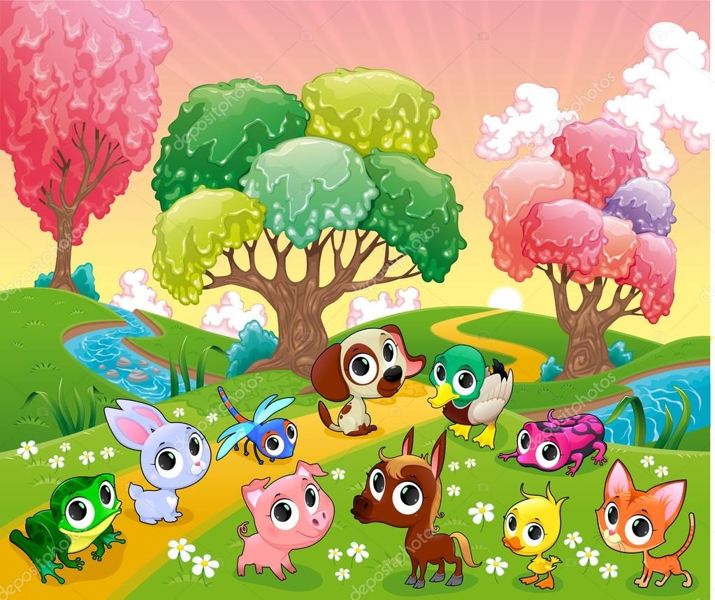 Funny animals in the magic wood