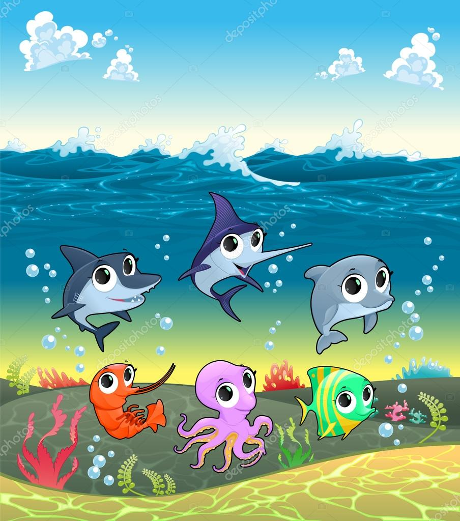 Lustige Meerestiere auf dem Meeresboden — Stockvektor © ddraw #66701339