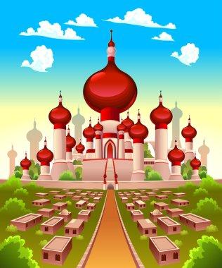 Landscape with Arabian castle