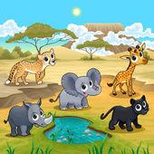 Sada funny volně žijících zvířat v přírodě