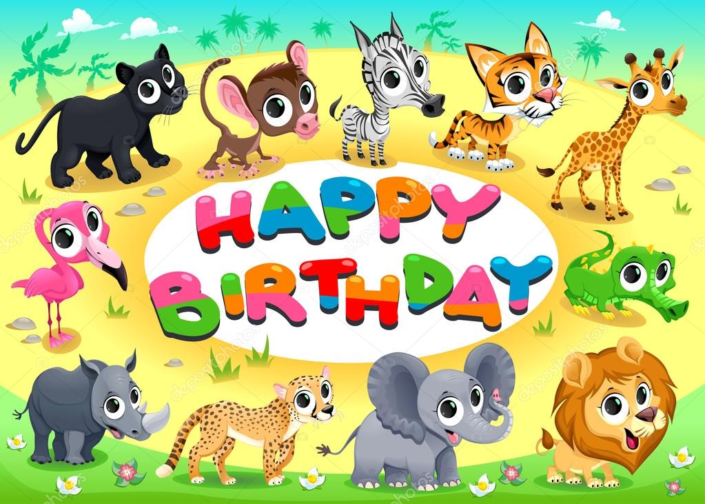 Happy Birthday Card With Jungle Animals Stock Vector