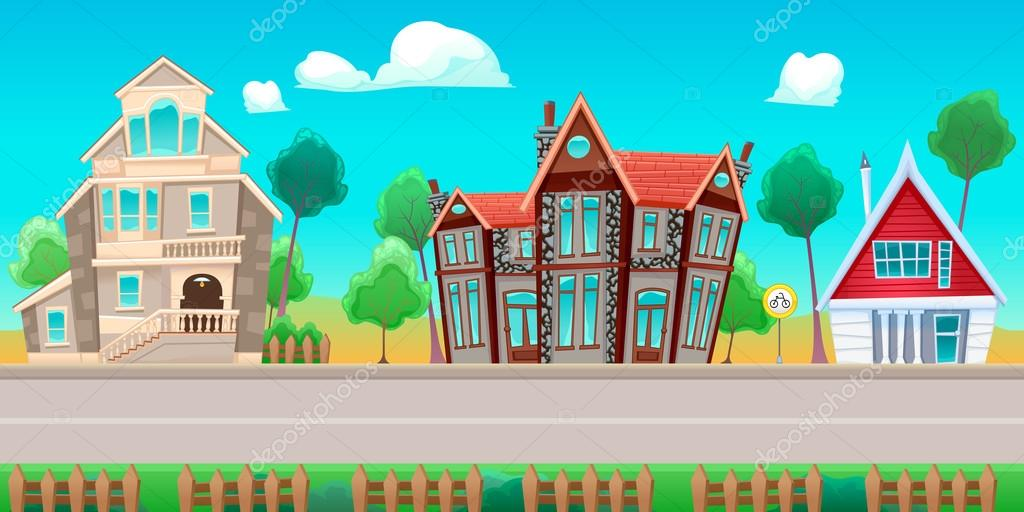Road with houses. The sides repeat seamlessly for a possible, continuous animation for games and graphics. stock vector