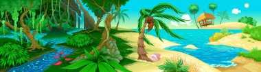 View on the jungle and sea. Vector illustration stock vector