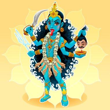 Kali goddess. Funny representation of eastern god, vector cartoon illustration. stock vector
