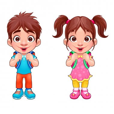Funny young boy and girl students