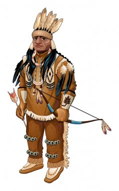 Native American with bow and arrow