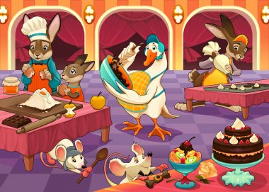 Funny animals are cooking cakes and cookies
