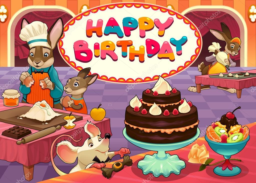 Scheda Di Buon Compleanno Con Gli Animali Divertenti Pasticceria