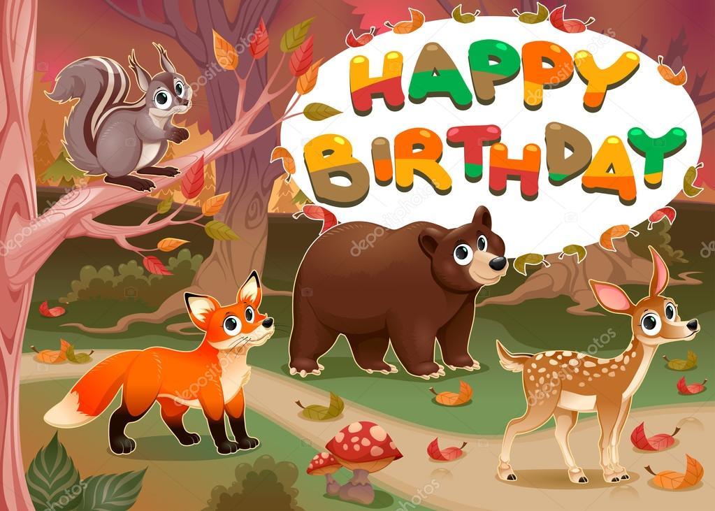 Carte d'anniversaire joyeux avec animaux bois — Image vectorielle ddraw © #95017572
