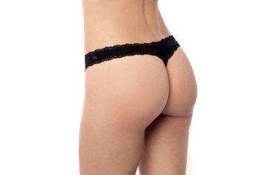 Sexy woman wearing black thong