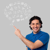 Man showing set of business icons