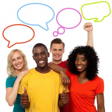 People with colorful speech bubbles
