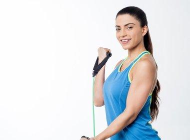 Woman athlete doing exercises