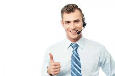 Customer support executive showing thumb up