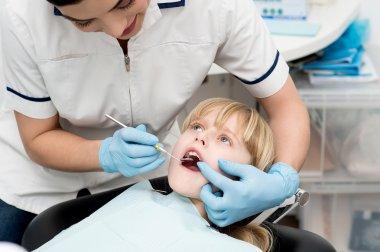 Little girl on dental check up.