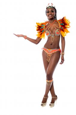 female samba dancer in carnival costume