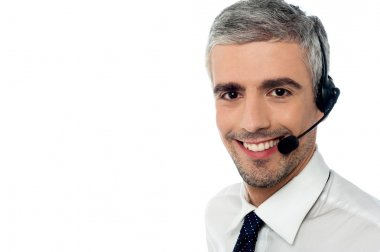 Sales executive wearing headset