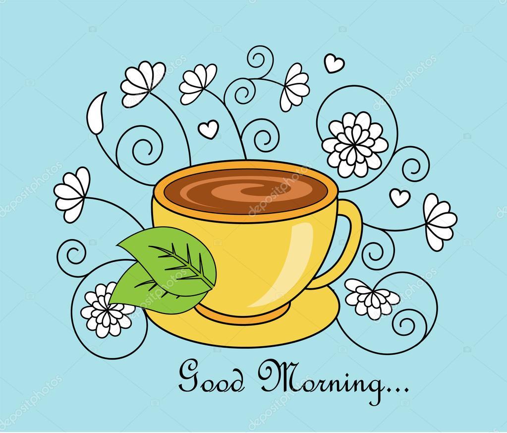 Guten Morgen Und Tee Stockvektor Olgasuslo 113880992